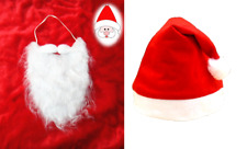 Christmas Santa Claus White Beard And Hat Xmas Fancy Dress Costume Party Outfit