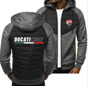 New Ducati Zip Up Hoodie Classic Autumn Hooded Sweatshirt Jacket Coat Top Tops