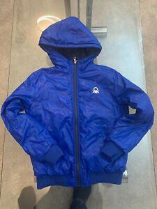 USED Boys Benetton Hooded windbreaker jacket 10-11 years Blue