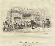 Giulio Mazzarino  incisione in rame 1846