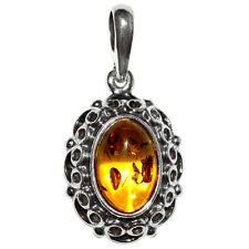 3.47g Authentic Baltic Amber 925 Sterling Silver Pendant Jewelry A1815