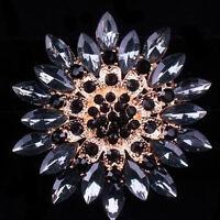 Elegant Alloy Rhinestone Crystal Flower Wedding Bridal Bouquet Brooch Pin
