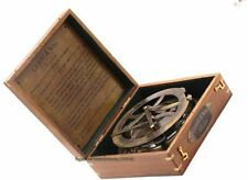Heavy Brass Sundial Compass W Wooden Box Nautical Marine Collectible Replica