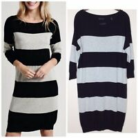 ATM Rugby Stripe Sweater Dress Sheath M Black Heather Gray Knee Length Medium