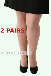 2 PAIRS - plus size SHEER TIGHTS 20 2xl 22 24 26 3x 28 30 pantyhose nude beige