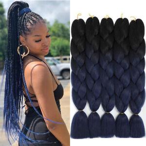 Ombre Black To Dark Blue Kanekalon Braiding Hair Extension Synthetic Jumbo Braid