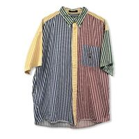 Vintage Chaps Ralph Lauren Short Sleeve Button Shirt  XL 90s Color Block Stripe
