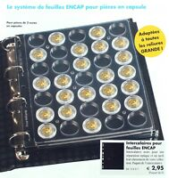 Feuilles plastique transparentes de rangement pour pièces de 2 euro sous capsule