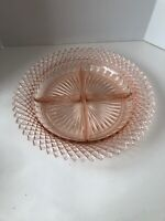 """Anchor Hocking Miss America Pink Depression Glass Divided Serving Plate 8-3/4"""""""