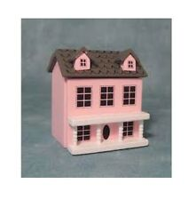 Small Pink Wooden Model of a Dolls House for a dolls house  (h 7cm w 6cm)