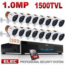 ELEC 16CH 1500TVL 960H DVR IR-CUT Outdoor Home CCTV Security Camera System 2TB