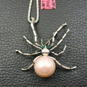 Betsey Johnson Pink Enamel Cute Pearl Spider Crystal Pendant Chain Necklace