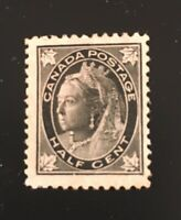 Stamps Canada Sc66 1/2c black Victoria mint of 1897. Please see description