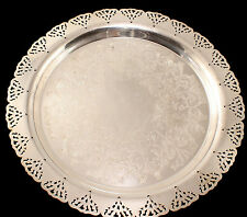 Silver plate Serving Tray With Cutwork Edge Home Decorators 12.5 in Diameter VGC