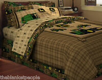 BRAND NEW JOHN DEERE TRADITIONAL TRACTOR &  PLAID TWIN SIZE 6 PIECE BED SET