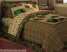 JOHN DEERE TWIN BED SET: FITTED & TOP SHEET, PILLOW CASE, REVERSIBLE COMFORTER