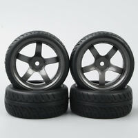 RC 4Pcs 1:10 on Road Tyres run Flat Tires&Wheel Rim 12mm Hex For HSP Model Car