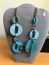 MARNI STYLE LEATHER METAL BLUE NECKLACE