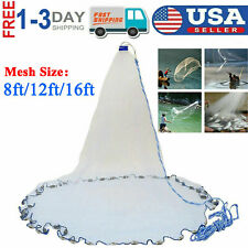 New 8/12/16ft Saltwater Fishing Cast Net For Bait Trap Height Easy Throw Sink US