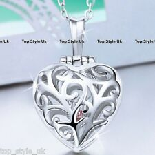 Silver Love Locket Holding Pink Heart Crystal Necklace Chain Gifts for Her C3