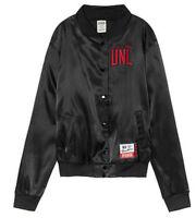 NEW Victoria's Secret PINK Collegiate Nebraska Huskers UNL Satin Bomber Jacket M