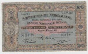 Switzerland 20 Franken dated 29th September 1927 P33e Fine to good Fine