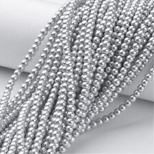 Strand 215+ 4mm Silver Glass Pearl Plain Round Beads UK