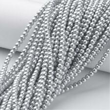 Parte 215+ 4mm argento perle di vetro plain ROUND BEADS UK