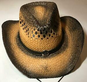Cowboy Western Rodeo Ranch Concert Straw Vented Sombrero Chin Strap Unisex Hat