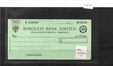 CHEQUE - CH1510 - UNUSED - pre 1971 - BARCLAYS BANK, WELLS NEXT SEA, no c/foil