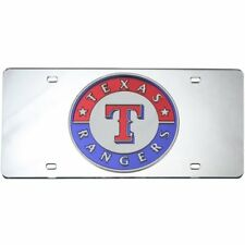 Texas Rangers MLB Logo Silver Mirror Look LASER License Plate