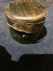 Antique Inkwell  ,metal .GREEN   Large 6CMS DIA BY 4.9 TALL