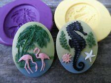 Beachy Sea Horse Cameo mold Set Silicone push mold polymer clay resin wax sugar