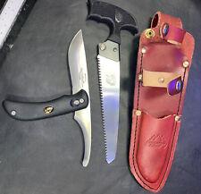 Outdoor Edge Swingblade-Pak Black Knife Saw Combo with Belt Loop Leather Sheath