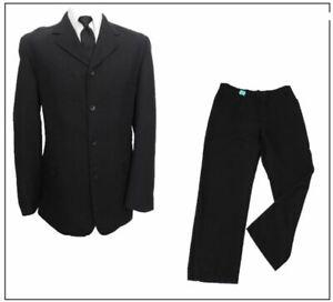 """Thomas Nash mens 2 piece suit Ch44""""R W38"""" L29.5"""" Plain Black Textured"""