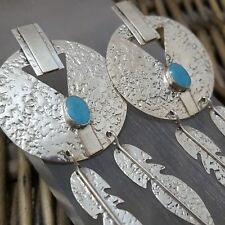 VINTAGE STERLING SILVER EARRINGS, LARGE SOUTHWESTERN DESIGN, TAXCO, TURQUOISE