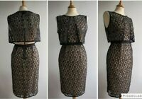 MARC BY MARC JACOBS Black Lace Dress Nude Pink Jersey Size S UK 10 or sml 12