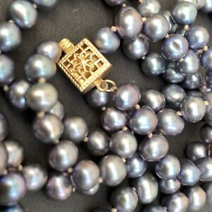 """14k Gold FIlled Filigree Box Clasp 14/20 Long 30"""" Tahitian Colour Pearl Necklace"""