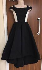 KAREN MILLEN BLACK & IVORY OFF-THE-SHOULDER SATIN PROM DRESS UK 6, 12 RRP £350