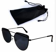 Cat Eye Sunglasses Black Frame Black Lens Shades with Pouch