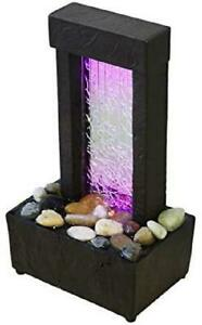 """10"""" H Crackled Glass Light Show Tabletop Water Fountain With Natural Corded"""