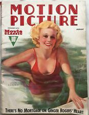 Original August 1937 Motion Picture Magazine JEAN HARLOW  On Cover by ZOE MOZERT