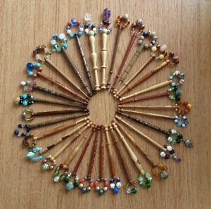 Lace Bobbin Case. Blue Cotton. With Dragonfly Design. 32 Wood Bobbins. Spangles.