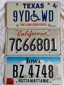 3 x California Iowa Texas Start 2 Collect Genuine Pre-Owned USA License Plates