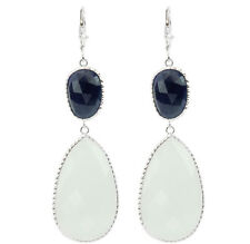 14K White Gold Gemstone Earrings With white Onyx And Blue Sapphires