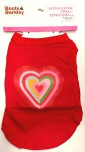 Boots & Barkley Heart Rainbow Red Pet T-shirt Size Extra Extra Small/Extra Small
