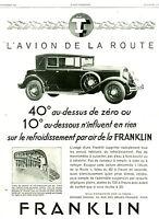 Publicité ancienne voiture Franklin l'avion de la route 1929 issue de magazine