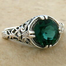 2 CT SIM EMERALD ANTIQUE FILIGREE DESIGN 925 STERLING SILVER RING SZ 9,#624
