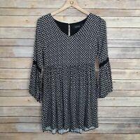 MinkPink Womens Dress Bell Sleeve Black Print Boho Tunic Pockets Size Xsmall