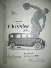 PUBLICITE DE PRESSE CHRYSLER SIX AUTOMOBILE ATHLETE FRENCH AD 1926